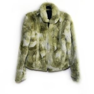 Green & White Faux Fur Zip Up Furry Jacket